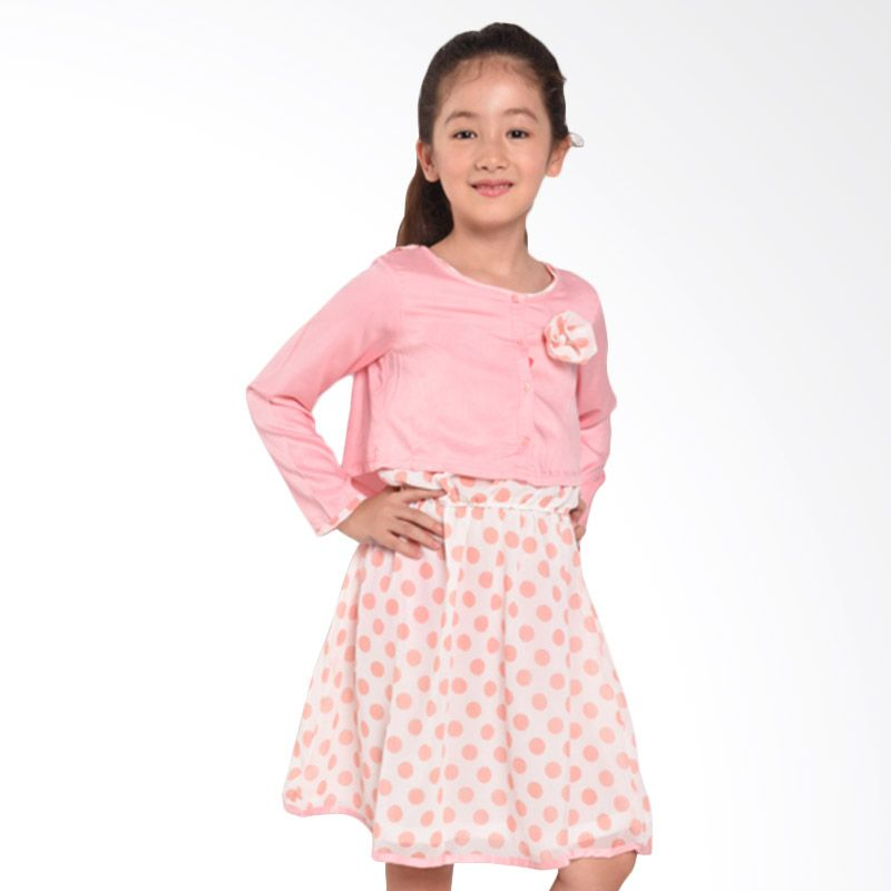 ONEPLUS1 2 Piece Salem Polka Dress Pink Dress Anak