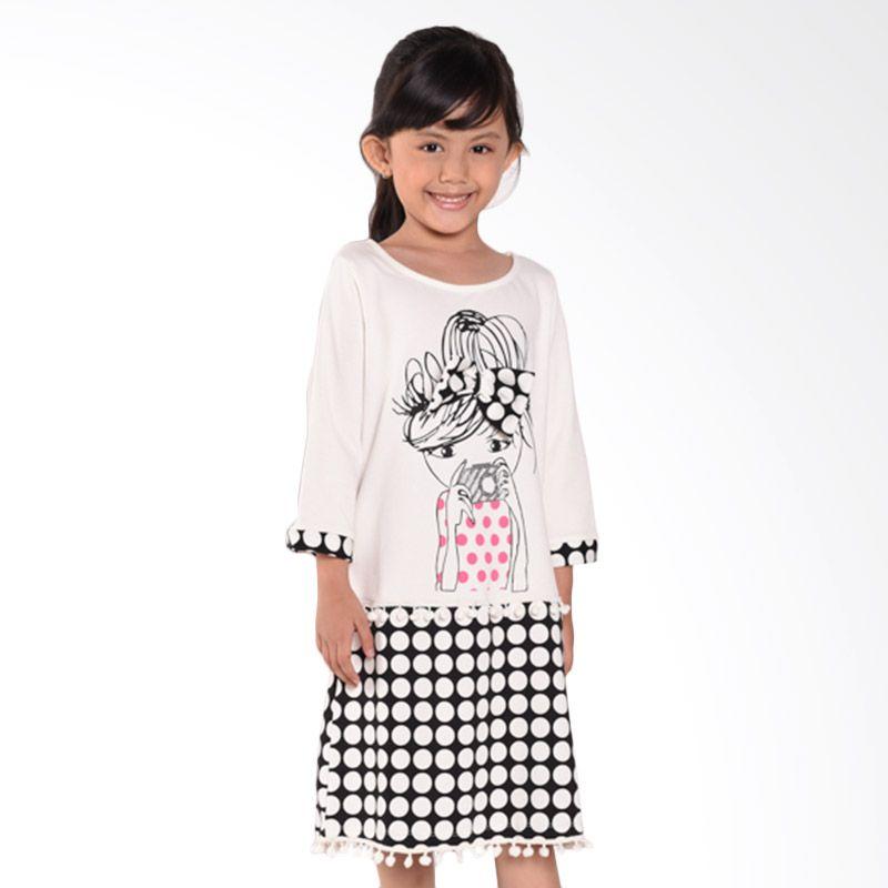 ONEPLUS1 Camera Girl Tee Black White Dress Anak