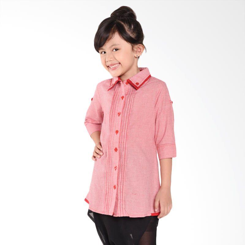 ONEPLUS1 Cotton Shirt Red Atasan Anak Perempuan