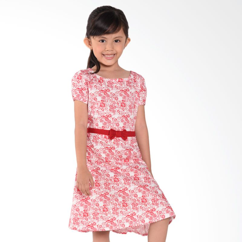 ONEPLUS1 Flower Cotton Dress Red Dress Anak Perempuan