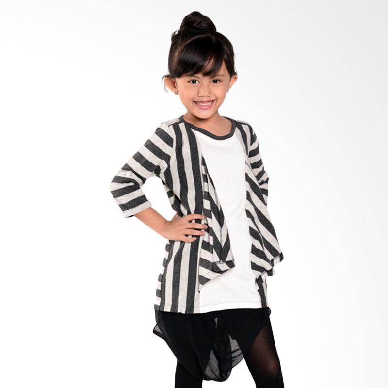 ONEPLUS1 Insert Cardigan Stripe White-Black Atasan Anak Perempuan