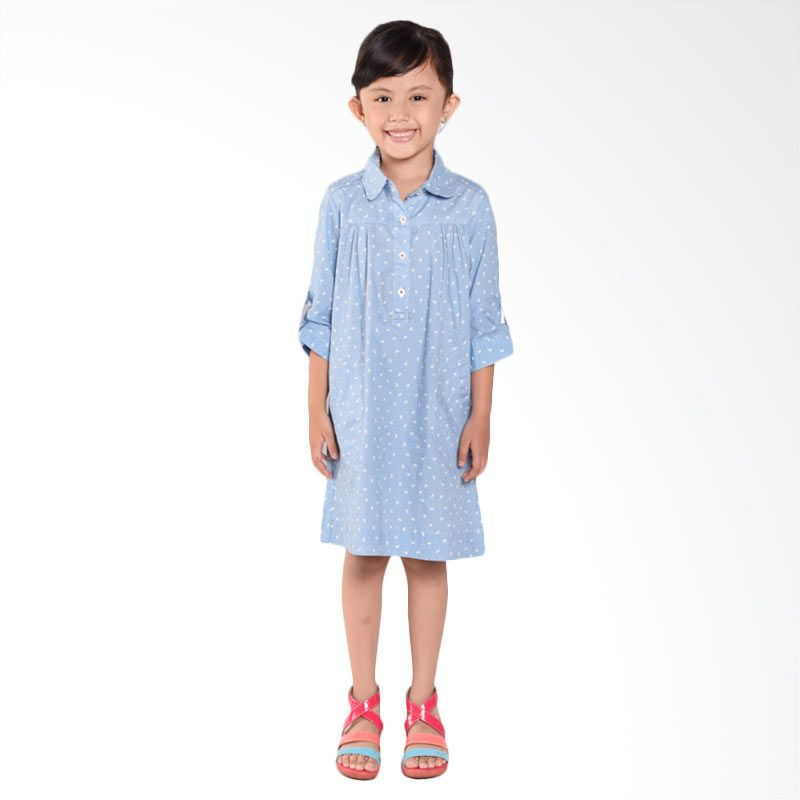 ONEPLUS1 Printed Chambray Dress Anak Perempuan