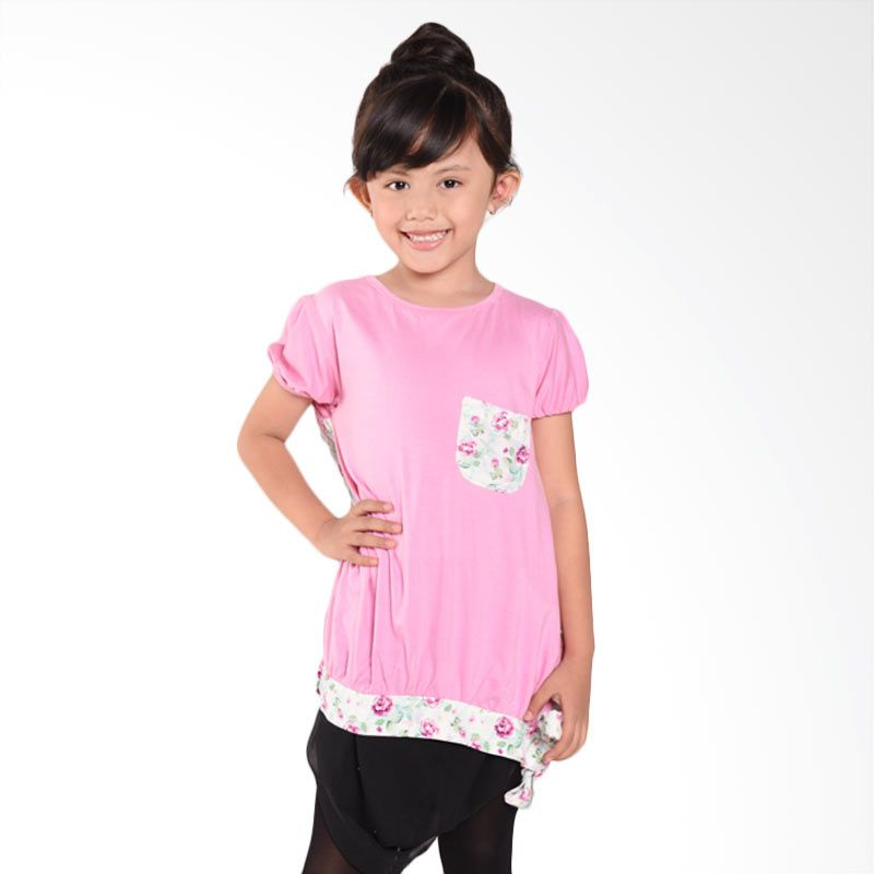 ONEPLUS1 Rayon Shirt Fee Pink Atasan Anak Perempuan