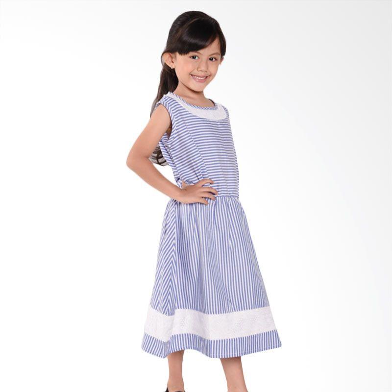 ONEPLUS1 Stripe Lace Dress Blue Stripe Dress Anak Perempuan