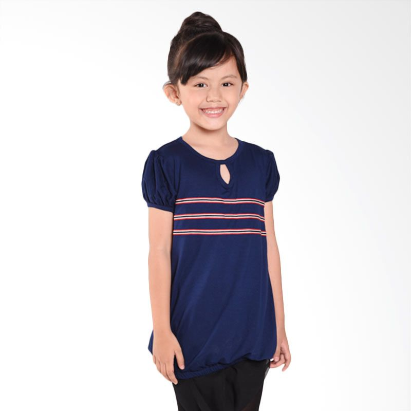 ONEPLUS1 Stripe Navy Tee Navy Atasan Anak Perempuan