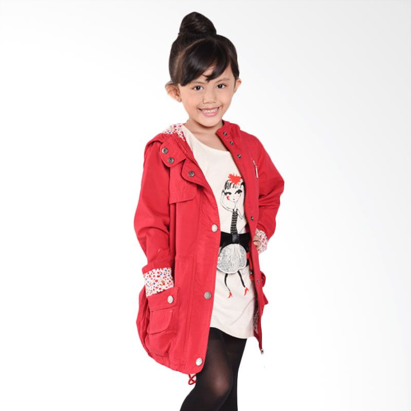 ONEPLUS1 Wind Jacket By 1 Red Jaket Anak