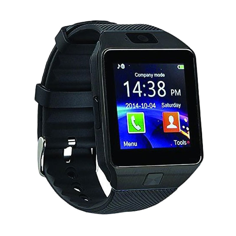jual onix cognos dz09 smartwatch full hitam strap karet. Black Bedroom Furniture Sets. Home Design Ideas