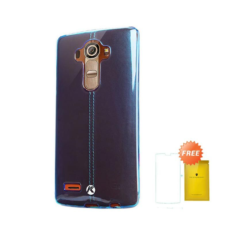 Kalaideng Air Series Biru Soft Casing for LG G4 + Tempered Glass Screen Protector