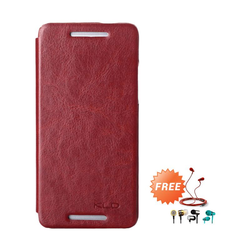 Kalaideng Enland Series Leather Cokelat Flip Cover Casing for HTC ONE MINI M4 + Earphone
