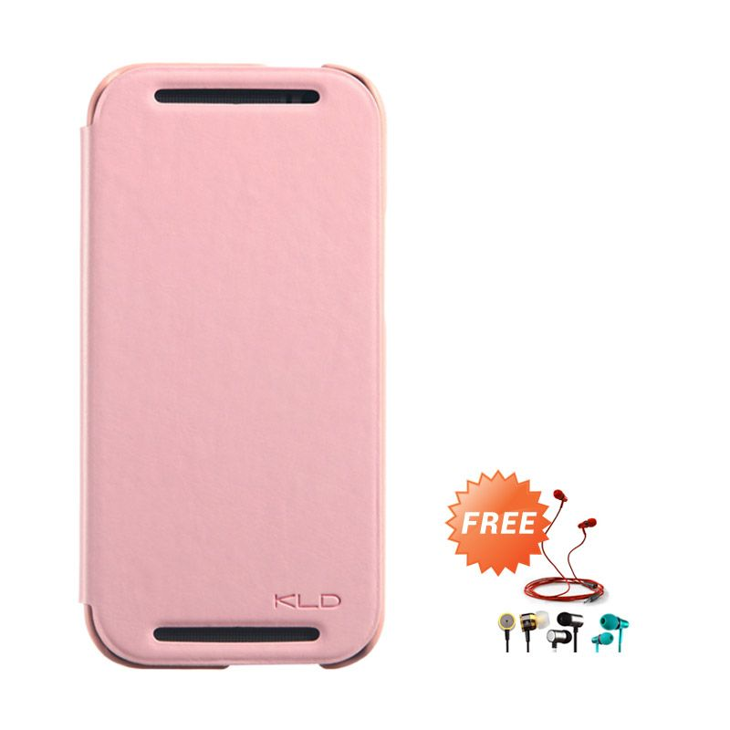 Kalaideng Enland Series Leather Peach Flip Cover Casing for HTC ONE M8 + Earphone