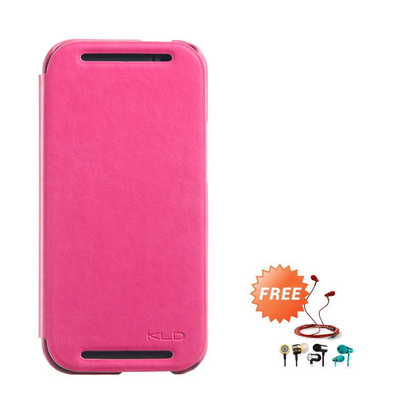 Kalaideng Enland Series Leather Pink Flip Cover Casing for HTC ONE M8 + Earphone