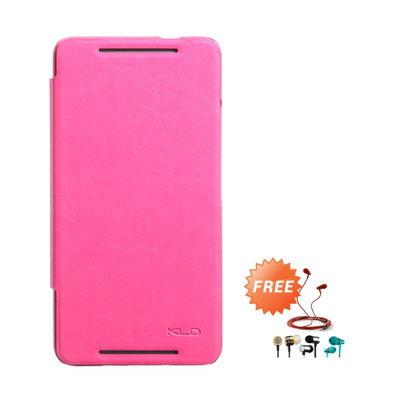 Kalaideng Enland Series Leather Pink Flip Cover Casing for HTC ONE MAX 8088 + Earphone
