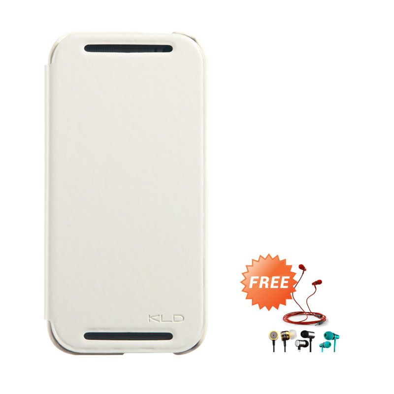 Kalaideng Enland Series Leather Putih Flip Cover Casing for HTC ONE M8 + Earphone