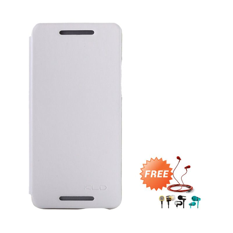 Kalaideng Enland Series Leather Putih Flip Cover Casing for HTC ONE MINI M4 + Earphone