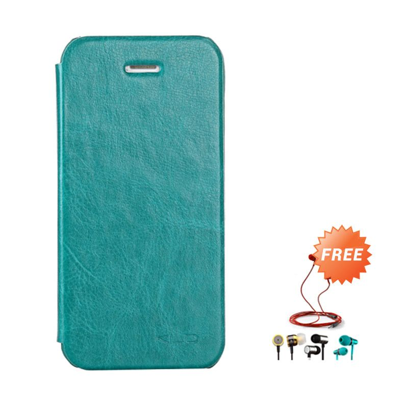Kalaideng Enland Series Leather Hijau Flip Cover Casing for iPhone 5 or 5S or SE + Earphone
