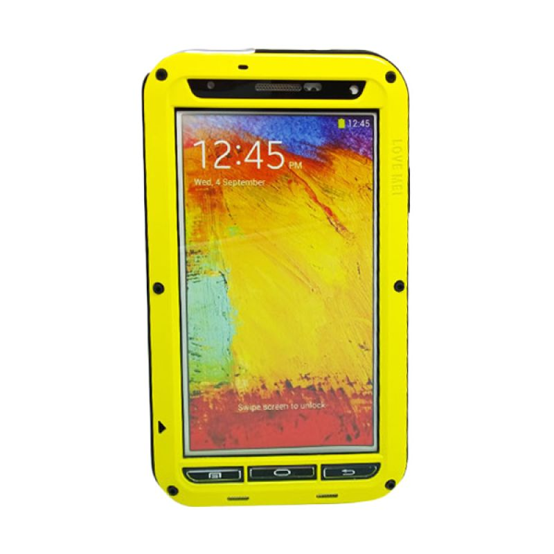 Love Mei Powerful Bumper Case with Gorilla Glass Kuning Casing for Samsung Galaxy Note 3