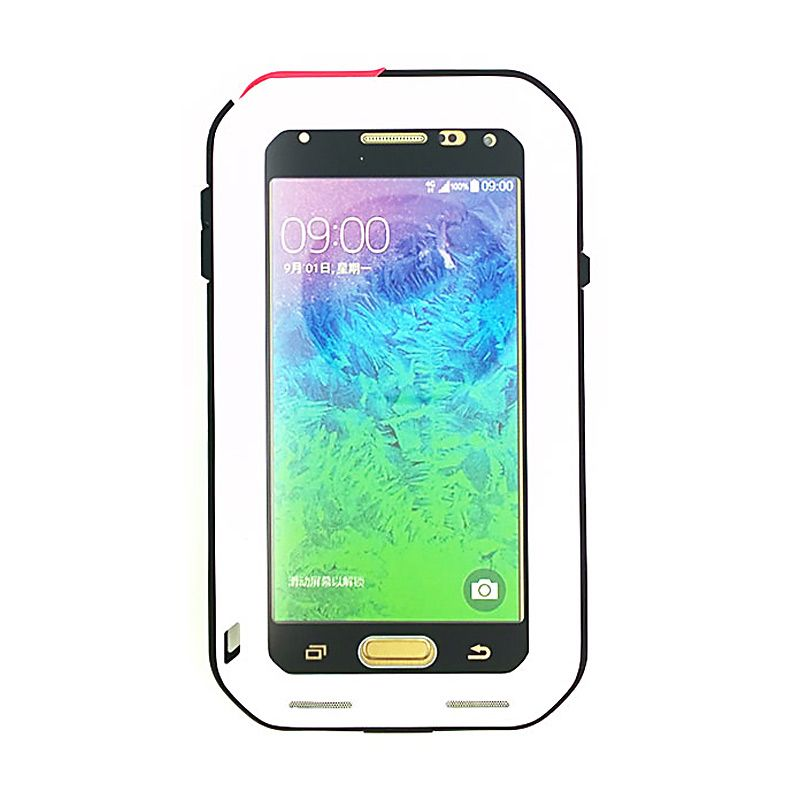 Love Mei Powerful Bumper Case with Gorilla Glass Putih Casing for Samsung Galaxy Alpha