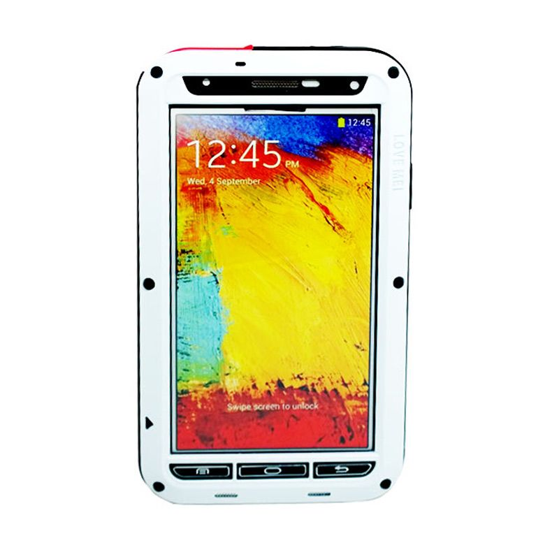 Love Mei Powerful Bumper Case with Gorilla Glass Putih Casing for Samsung Galaxy Note 3