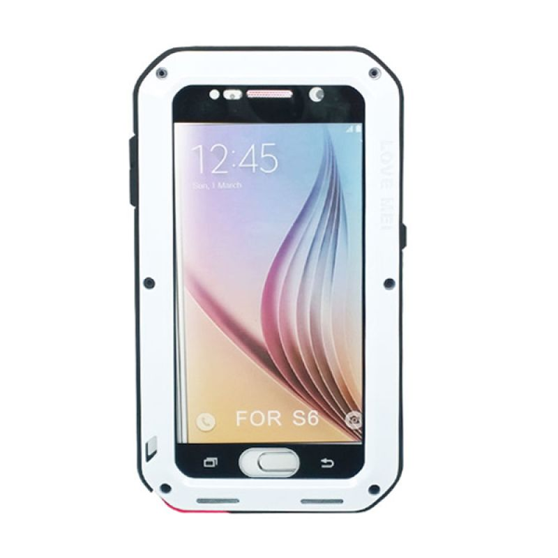 Love Mei Powerful Bumper Case with Gorilla Glass Putih Casing for Samsung Galaxy S6