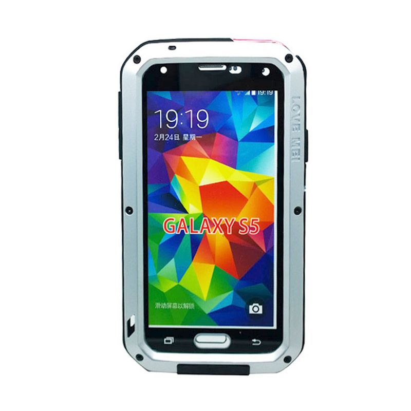Love Mei Powerful Bumper Case with Gorilla Glass Silver Casing for Samsung Galaxy Mega 5.8
