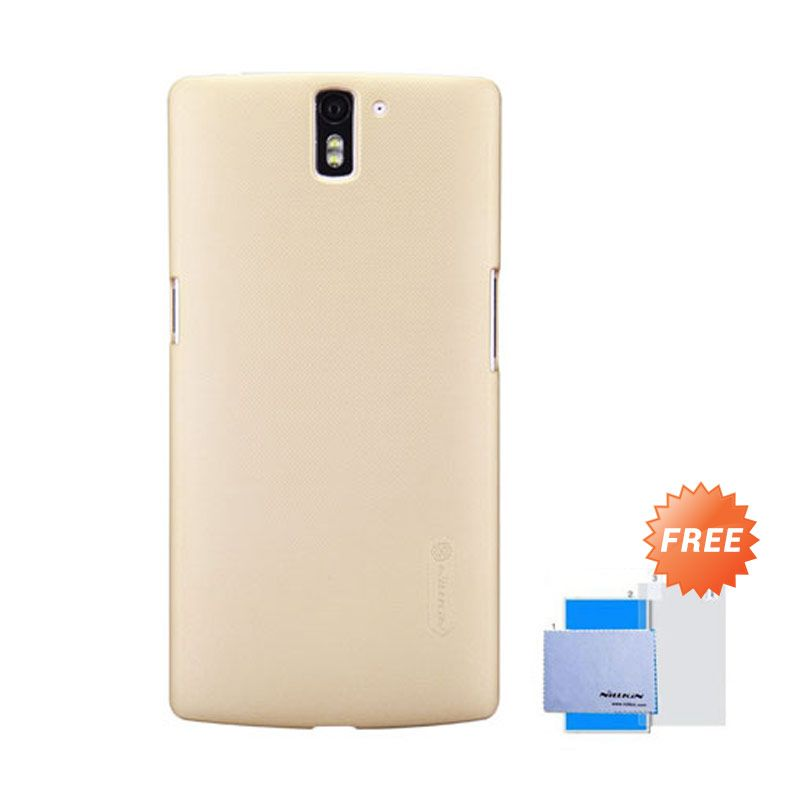 Nillkin Frosted Shield Gold Hardcase Casing for One Plus One + Screen Guard