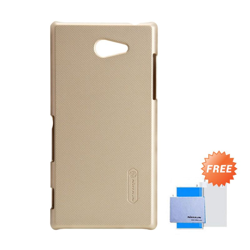 Nillkin Frosted Shield Gold Hardcase Casing for Sony Xperia M2 S50H + Screen Guard