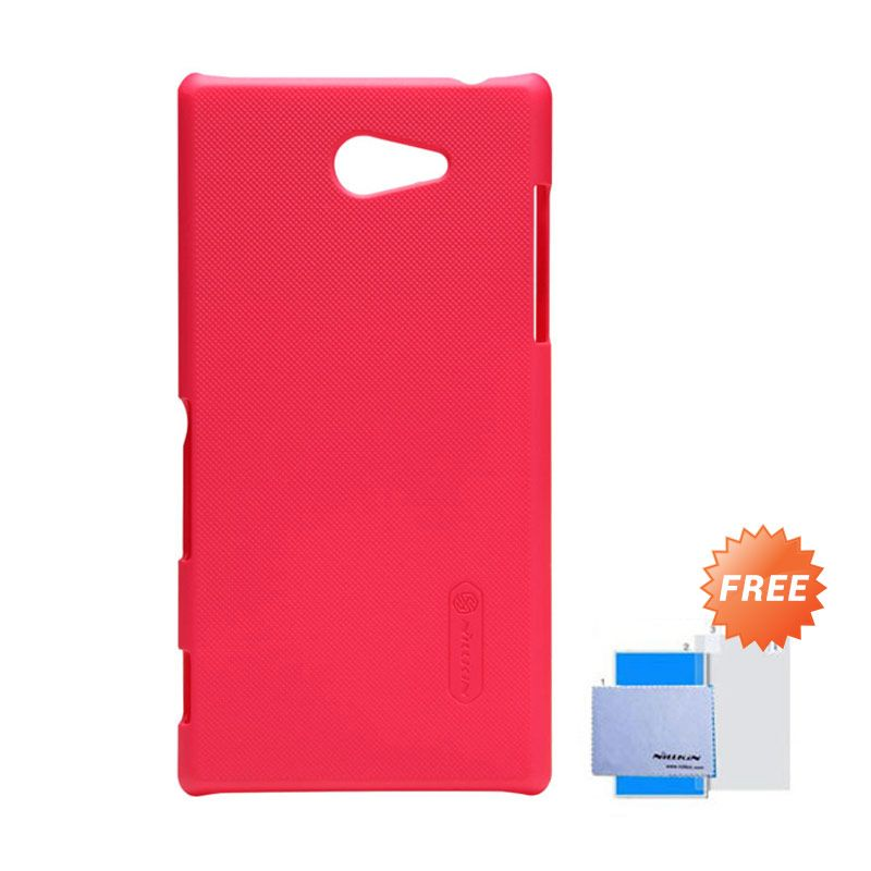 Nillkin Frosted Shield Merah Hardcase Casing for Sony Xperia M2 S50H + Screen Guard