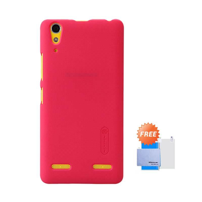 Nillkin Frosted Shield Hardcase Red Casing for Lenovo A6000 or K3 + Screen Guard