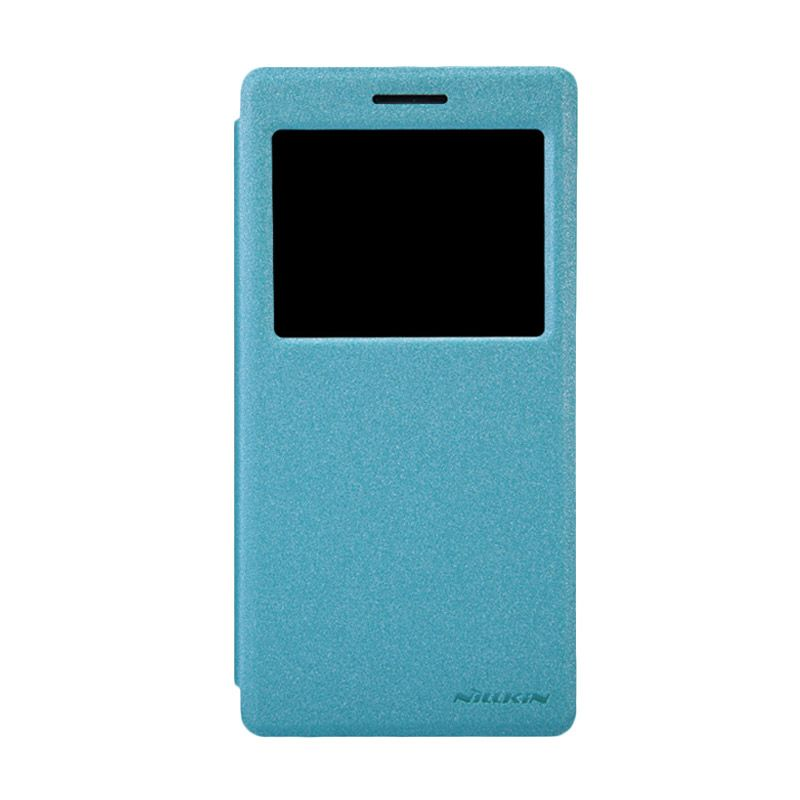 Nillkin Sparkle Leather Biru Flip Cover Casing for OPPO Find 7