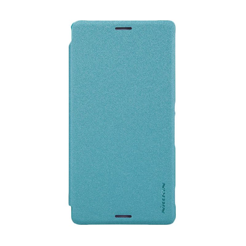 Nillkin Sparkle Leather Flip Cover Biru Casing for Sony Xperia M4 Aqua