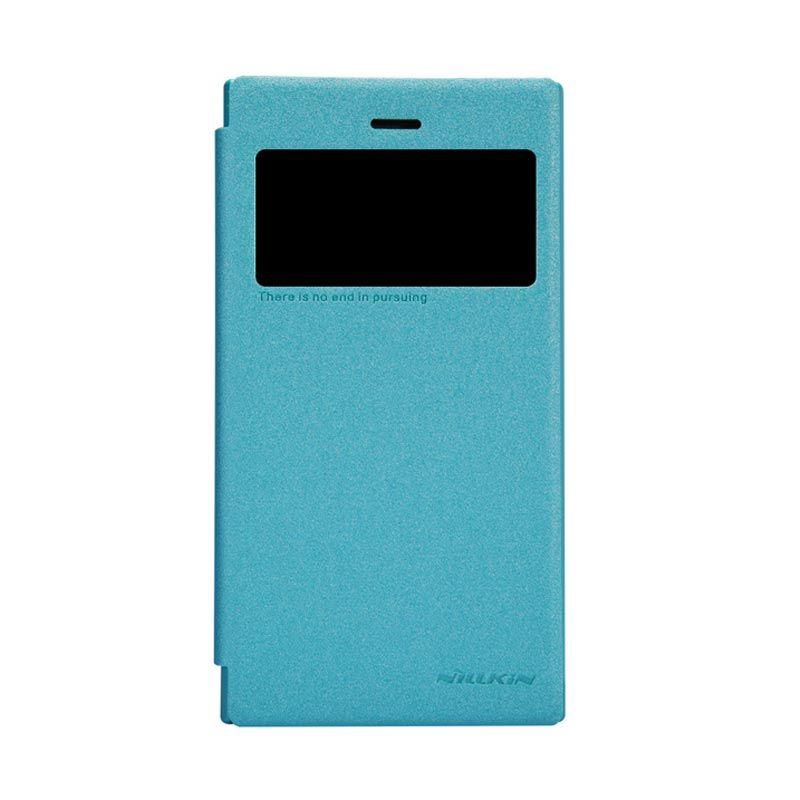 Nillkin Sparkle Leather Biru Flip Cover Casing for Blackberry Z3