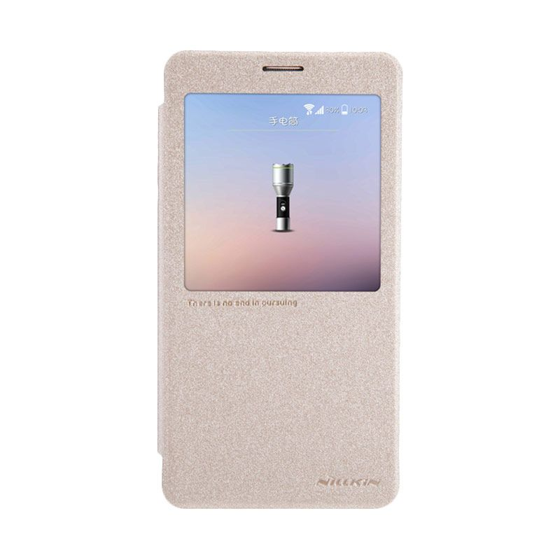 Nillkin Sparkle Leather Gold Flip Cover Casing for Samsung Galaxy Note 4