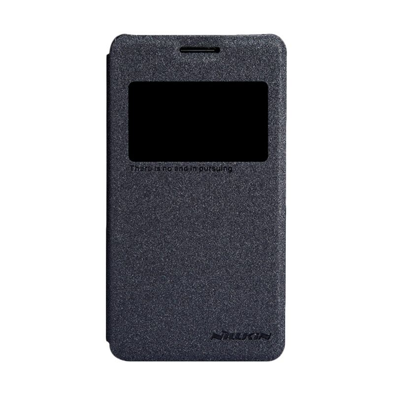 Nillkin Sparkle Leather Hitam Flip Cover Casing for Sony Xperia E1