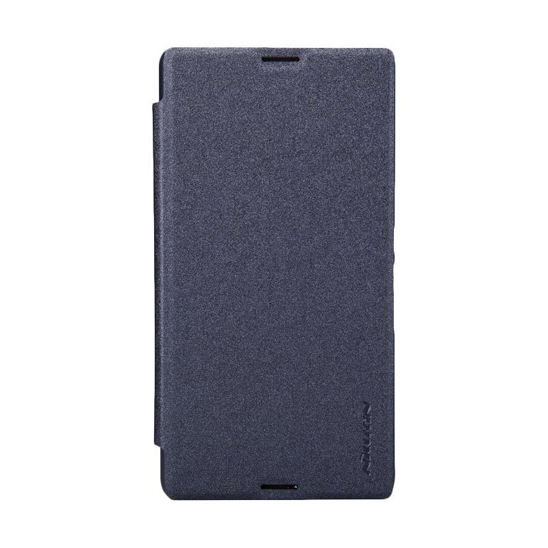 Nillkin Sparkle Leather Hitam Flip Cover Casing for Sony Xperia E3