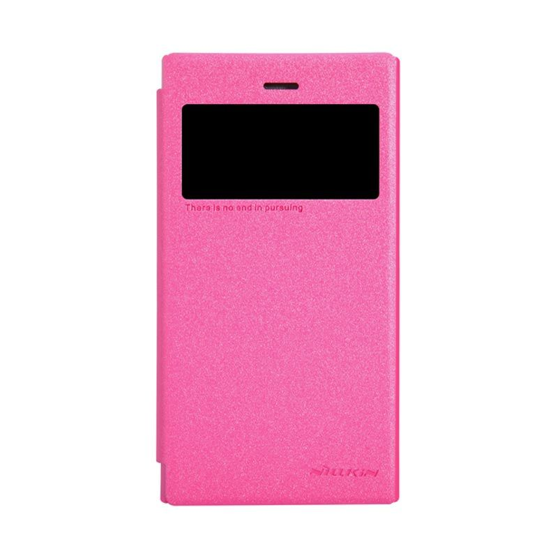 Nillkin Sparkle Leather Pink Flip Cover Casing for Blackberry Z3