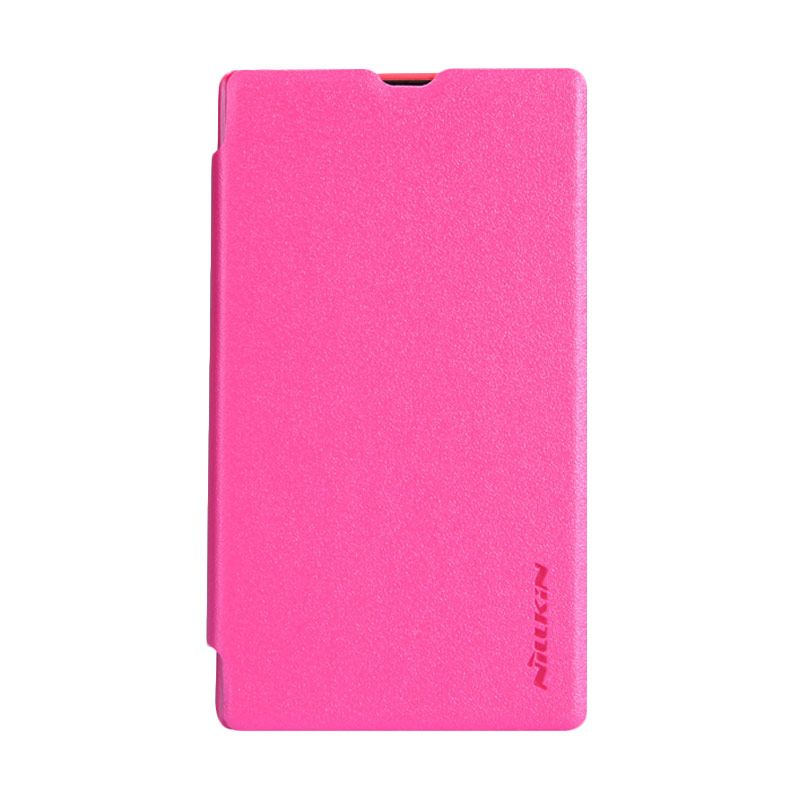 Nillkin Sparkle Leather Pink Flip Cover Casing for Nokia X