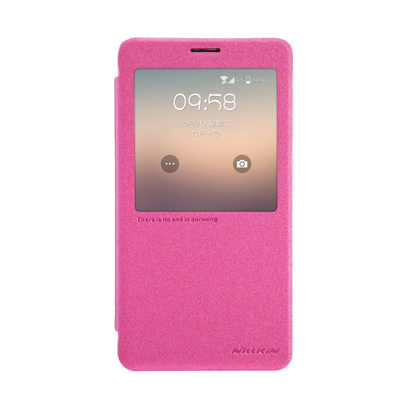 Nillkin Sparkle Leather Pink Flip Cover Casing for Samsung Galaxy Note 4