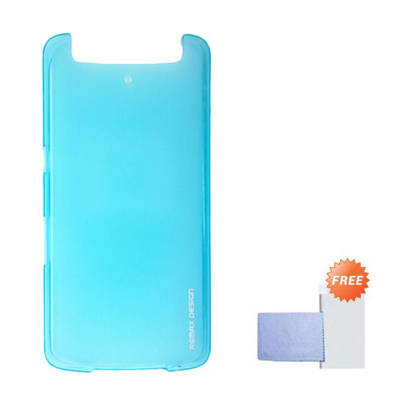 Remax Pudding Soft Case Biru Casing for OPPO N1 + Screen Guard