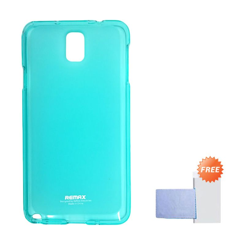 Remax Pudding Soft Case Biru Casing for Samsung Galaxy Note 3 + Screen Guard
