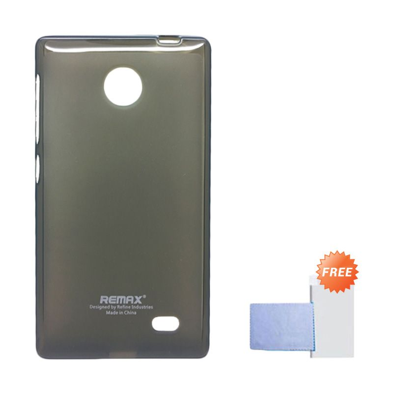Remax Pudding Soft Case Hitam Casing for Nokia X + Screen Guard