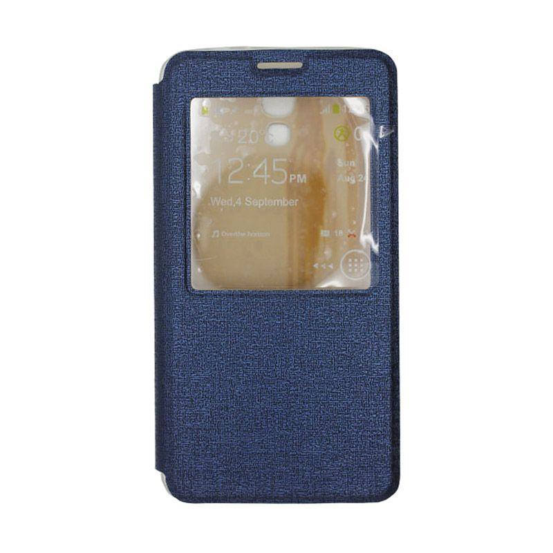 IMO Fresh Leather Flip Case Biru Casing for Samsung Galaxy Mega 2