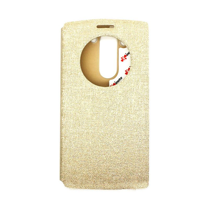IMO Fresh Leather Flip Case Gold Casing for LG G3 MINI or LG G3 BEAT