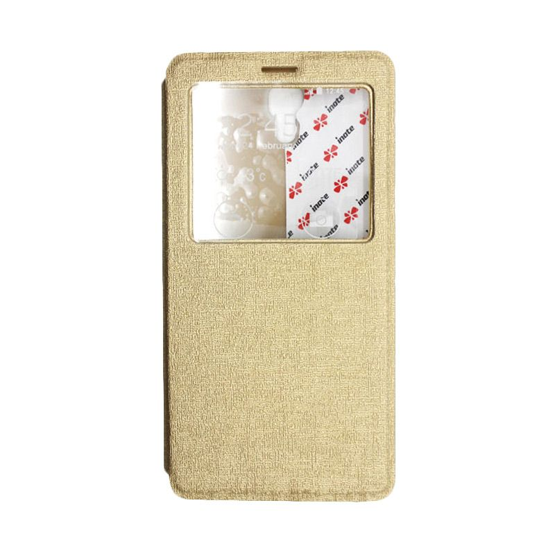 IMO Fresh Leather Flip Case Gold Casing for Xiaomi Redmi Note