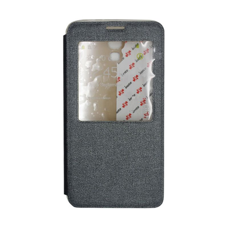 IMO Fresh Leather Flip Case Hitam Casing for Samsung Galaxy Mega 2