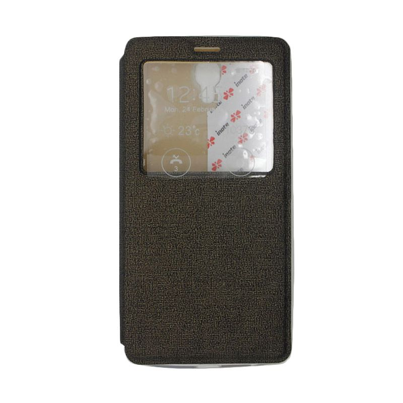 IMO Fresh Leather Flip Case Hitam (Keemasan) Casing for Xiaomi Redmi Note