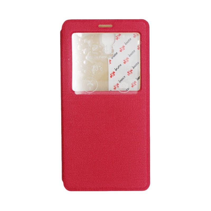 IMO Fresh Leather Flip Case Merah Casing for Xiaomi Redmi Note