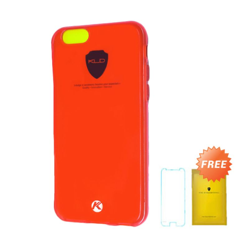 Kalaideng Air Series Merah Soft Case Casing for iPhone 6 + Tempered Glass Screen Protector
