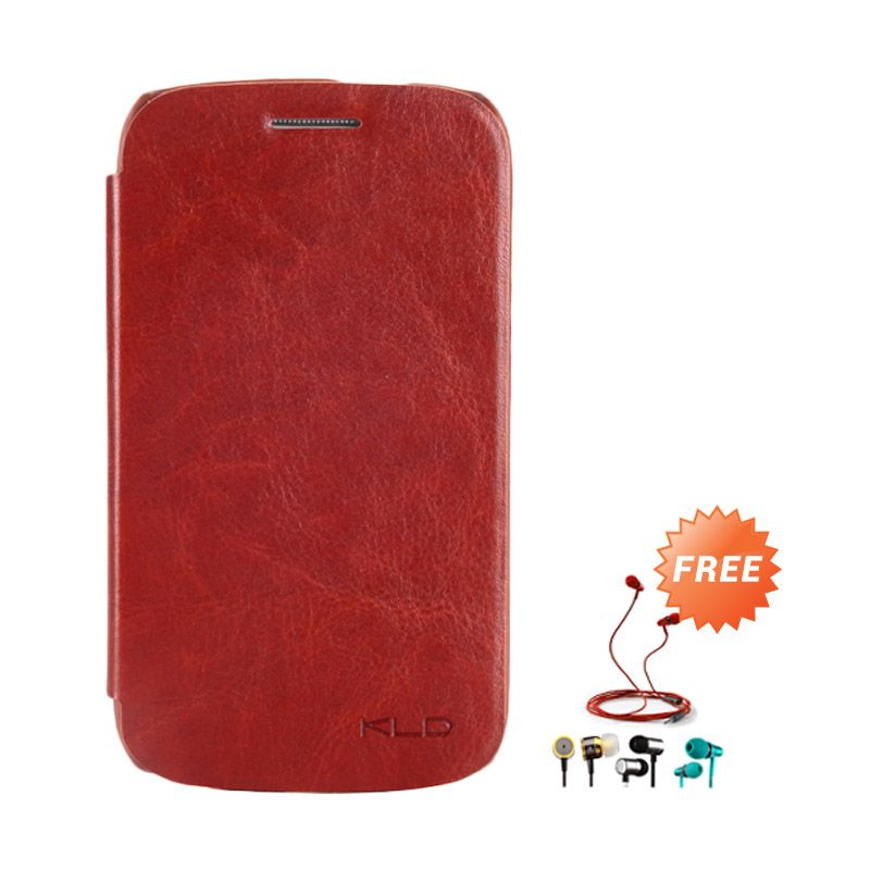 Kalaideng Enland Leather Flip Cover Series Cokelat Casing for Samsung Galaxy Core i8260 + Earphone