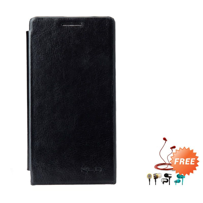 Kalaideng Enland Leather Flip Cover Series Hitam Casing for Huawei Ascend P6 + Earphone