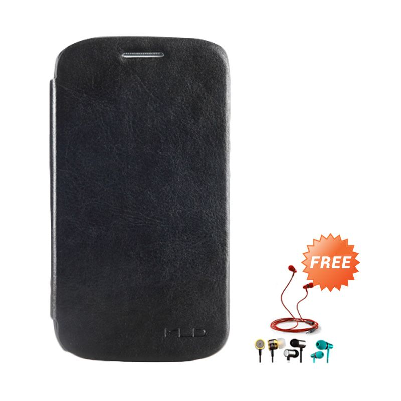 Kalaideng Enland Leather Flip Cover Series Hitam Casing for Samsung Galaxy Core i8260 + Earphone